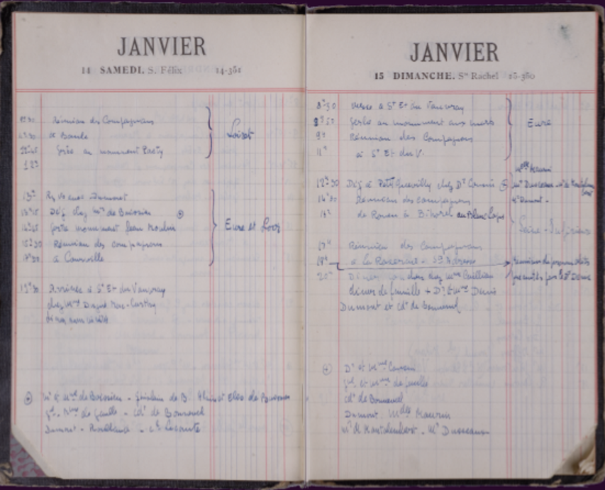 Deux pages de l'agenda de De Gaulle des 14 et 15 janvier 1950
