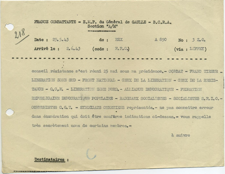 Télégramme de Jean Moulin au Bureau central de renseignement et d'action annonçant la formation du CNR, le 29 mai 1943