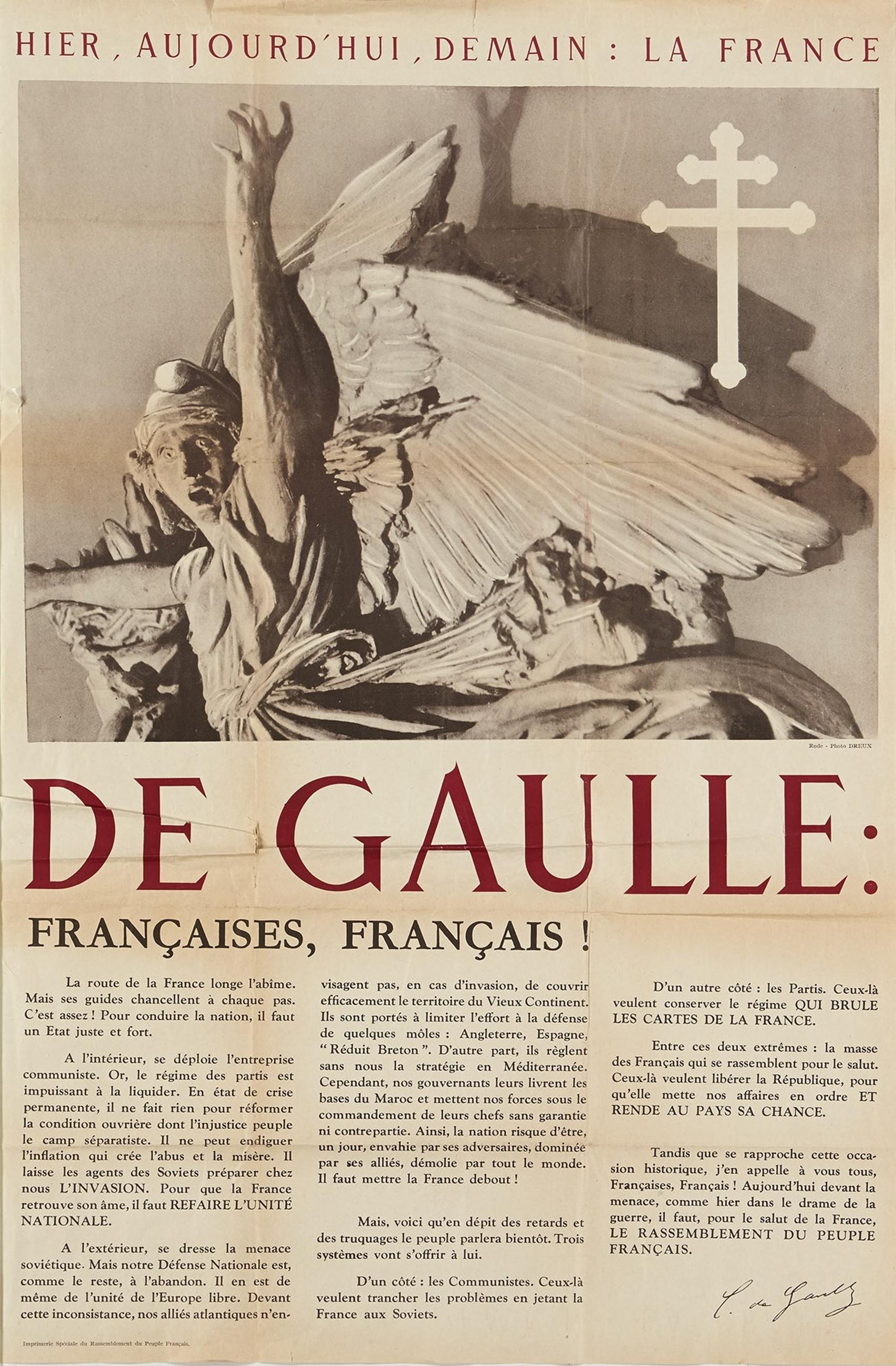 """Affiche """"Hier, Aujourd'hui, Demain"""" dans le cadre de la campagne électorale pour les législatives du 17 juin 1951"""