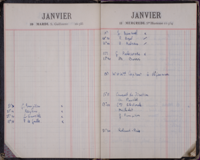 Deux pages de l'agenda de De Gaulle des 10 et 11 janvier 1950