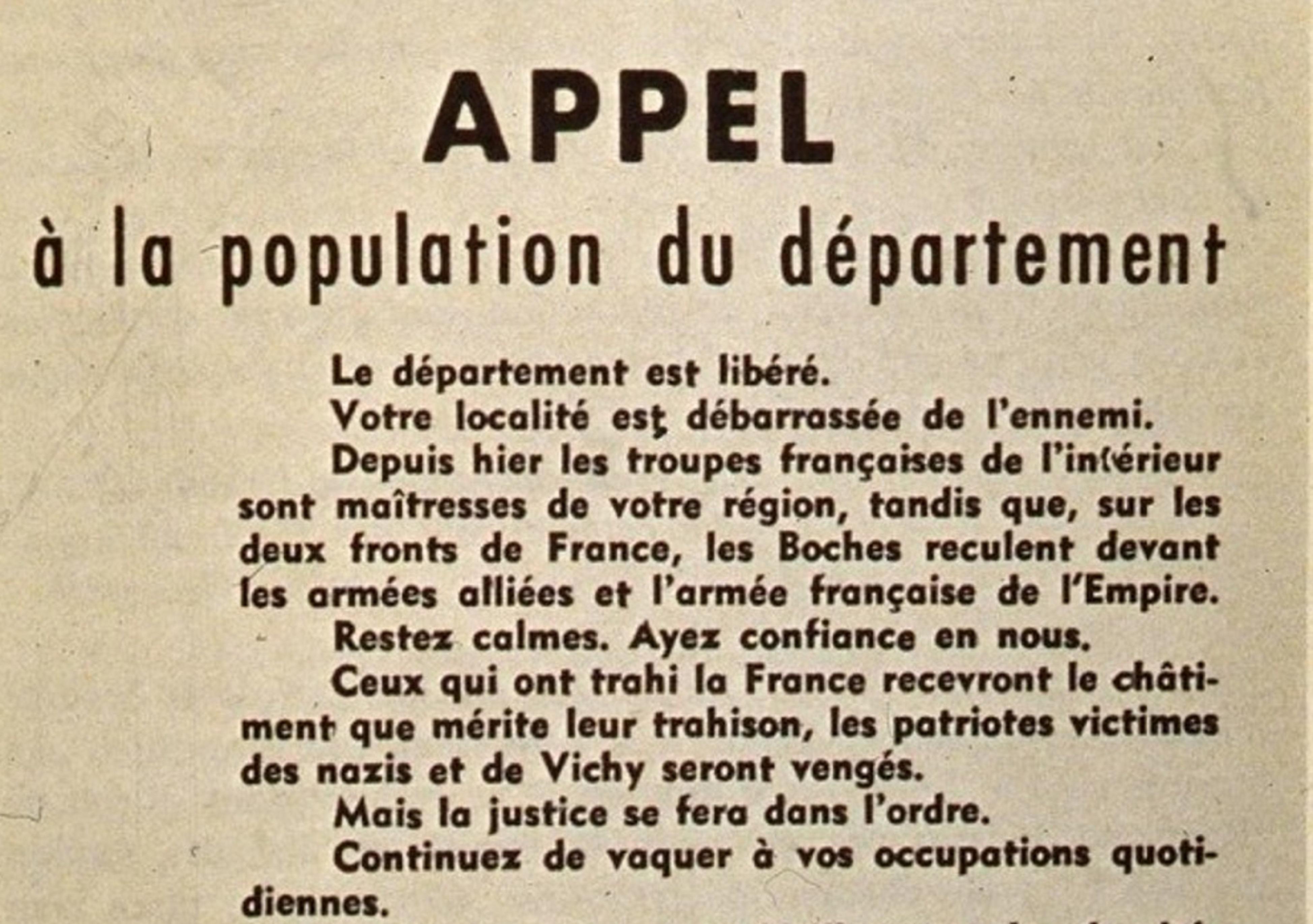 L'appel à la population du Lot du 18 août 1944 - Enseigner de Gaulle