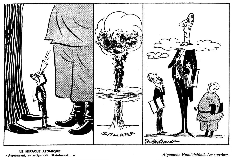 Caricature de De Gaulle et l'arme atomique