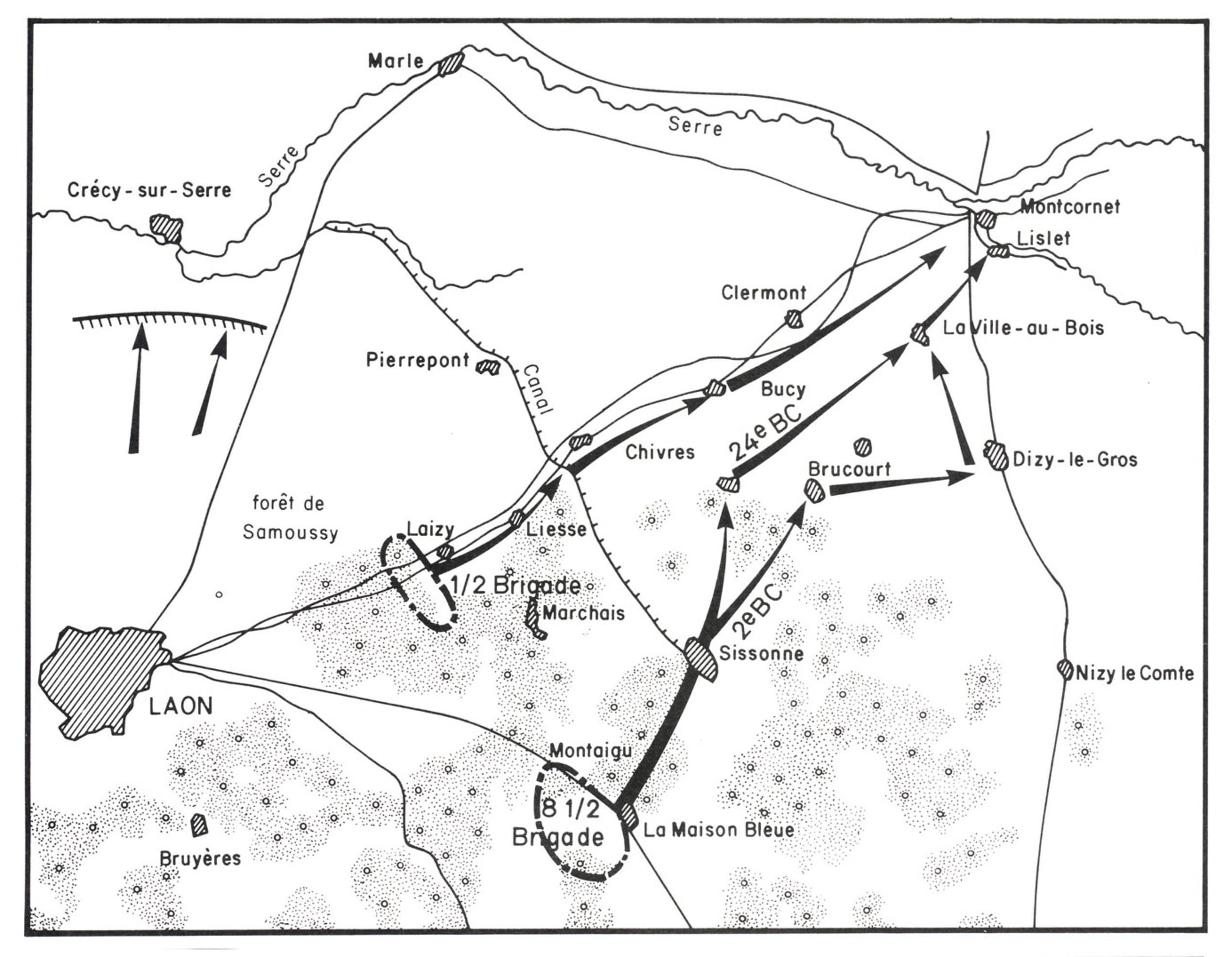 Carte de l'ordre d'opérations n°1 de la IVème DCR du 16 mai 1940