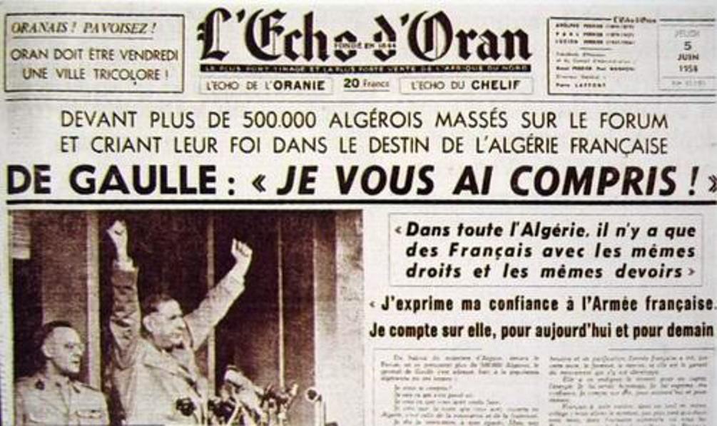 Une de l'Echo d'Oran du 5 juin 1967