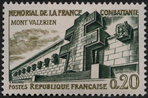Timbre représentant le Mémorial de la France combattante en 1962